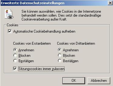 Cookies Internet Explorer